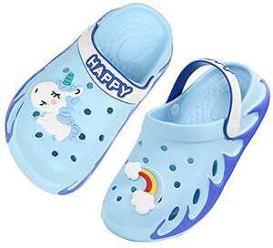 Weweya Kids Clogs Boy Gardening Girl Garden Shoes Child Sandals Children Shower Water Slides Quick Dry Closed-Toe Aqua Slippers Size 2 M US Sky Blue Big Kid
