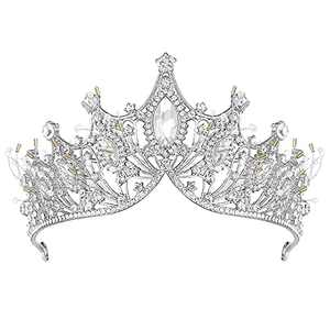 Silver Tiaras for Women, Handmade Crystal Crowns and Tiaras for Girls Party Costume Hair Accessories