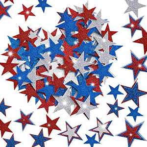 Outus 200 Pieces Patriotic Foam Stickers Red Blue Silver Glitter Star Foam Sticker July 4th Self-Adhesive Independence Day Handmade Decorations Party Decoration Supplies