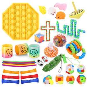 Fidget Toys Pack 36Pcs - Fidget Box with Pop It, Mochi Squishy, Bike Chain &More - Sensory Fidget Toys Set for Kids Adults ADHD Add - Cheap Fidget Packs Perfect for Anxiety Stress Relief