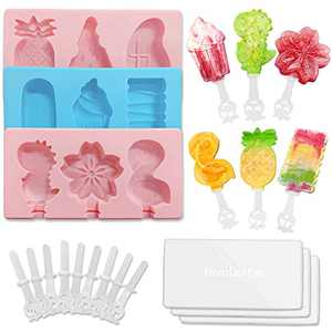 Homemade Popsicle Molds for Kids,HomLeaFac 9 Pieces Ice Popsicle Maker,Silicone Ice Pop Models with 18 Sticks,Easy Release Ice Cream Mold for Healthy Snacks,BPA Free,Dishwasher Safe (3x3)
