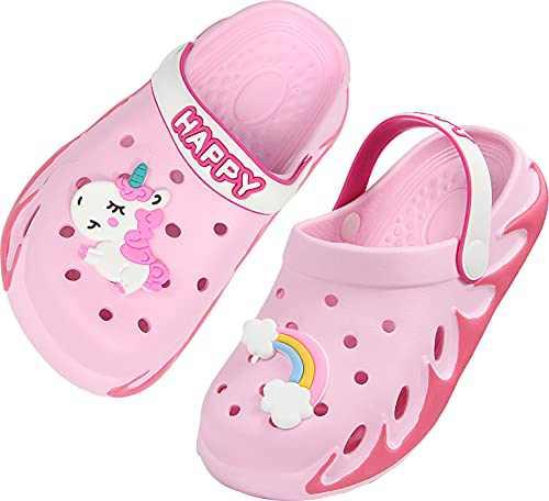 Weweya Kids Clogs Boy Gardening Girl Garden Shoes Child Sandals Children Shower Water Slides Quick Dry Closed-Toe Aqua Slippers Size 5.5 M 6 M 6.5 M US Pink Toddler