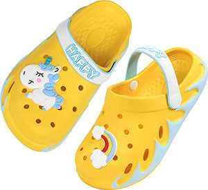 Weweya Kids Clogs Boy Gardening Girl Garden Shoes Child Sandals Children Shower Water Slides Quick Dry Closed-Toe Aqua Slippers Size 2 M US Yellow Big Kid