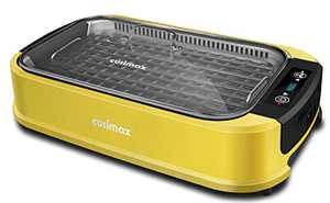Indoor Grill Electric Grill CUSIMAX Smokeless Grill Portable Korean BBQ Grill with Turbo Smoke Extractor Technology, Non-stick Removable Grill Plate, Great for Party, Yellow(Single Plate)