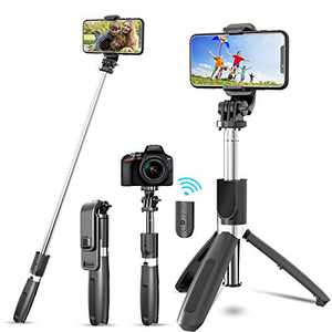 JYPS Bluetooth Selfie Stick Tripod with Detachable Wireless Remote and Tripod Stand, Extendable Selfie Stick Tripod Compatible with iPhone12pro/12/11pro/11/XR XS/XS Max, Android, Gopro, Small Camera
