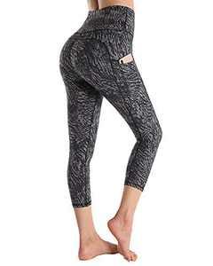 WALK FIELD Capris Yoga Leggings with Side Pockets Tummy Control High Waist Athletic Leggings (Zebra, M)