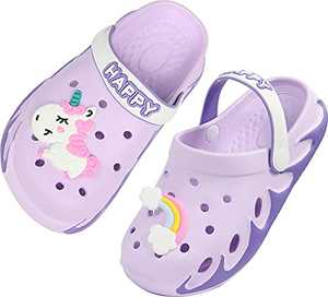 Kids Clogs Boy Gardening Girl Garden Shoes Child Sandals Children Shower Water Shoes Quick Dry Closed-Toe Aquatic Slippers Size 13 M US Purple Little Kid