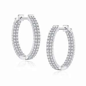 Inside-out Silver Hoop Earrings for Women Girls, S925 Sterling Silver Post White Gold Hoops 20MM Dainty Lightweight CZ Silver Oval Medium Inside-Out Hoop Earrings for Women Jewelry