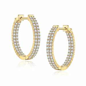 Gold Inside-out Hoop Earrings for Women, S925 Sterling Silver Post Gold Oval Hoops 20MM Dainty CZ Inside-Out Style Gold Hoop Earrings for Women