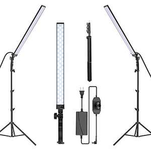 Neewer LED Video Light Stick Kit, 2-Pack Photography Lighting Kit Dimmable 5500K with 79-inch Light Stand for Photographic Video Fill Light/Live Streaming/Video Conferencing/Zoom Calls/Live Streaming