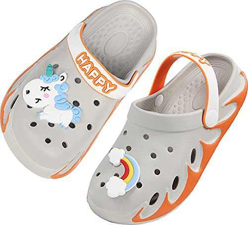 Weweya Clogs for Girls Boys Garden Shoes Slip on Water Shoes Quick Dry Beach Sandals Aqua Shoes Summer Slides Lightweight Orange Size 4 M 5 M US Toddler