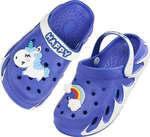 Kid Clogs Boy Gardening Girl Garden Shoes Child Beach Sandals Charms Children Shower Slippers Size 2.5 M US Dark Blue Big Kid