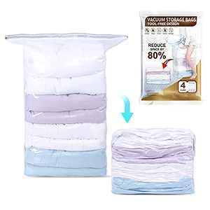 LEVERLOC Cube Vacuum Storage Space Saver Bags 4 Jumbo Packs Pump-Free Vacuum Seal Storage Bags for Clothes Comforters Pillows Beddings Blankets Closet Organizer, 80% Space Saving