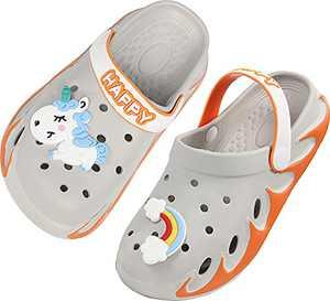 Weweya Kids Cute Garden Shoes Cartoon Slides Sandals Clogs Children Beach Slipper for Boys Girls Size 12 M US Orange Little Kid