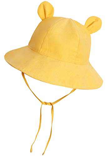 Baby Sun Hat Toddler Hats for Boys Girls Infant Sun Hat Baby Girl Hats with Bear Ears Wide Brim UPF 50+ Beach Hat Yellow