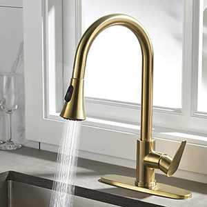 Rainovo Kitchen Faucet with Pull Down Sprayer Brushed Gold, 3 Hole Kitchen Sink Faucet Stainless Steel Single Handle, High Arc Faucets with Deck Plate Commercial Modern with Pull Out Sprayer