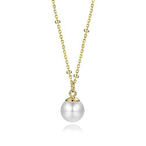 925 Silver Daughter Mother Eternity Necklace Single Floating Pendant Shell Pearl Necklace Sterling Silver Necklace for Women (Gold)