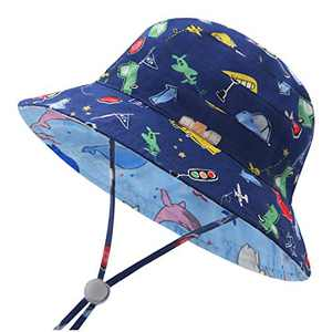 Duoyeree Kids Bucket Hat Summer Beach Baby Hat Outdoor Holiday Caps for Toddler Infant Girls Boys (Dolphin and Car, 6 Months-12 Months)