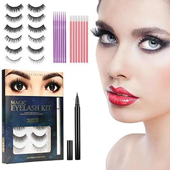 3D Magnetic Eyelashes with Eyeliner Kit, Eyelashes, 6 Pairs Reusable False Lashes Natural Look with Eyelash Tweezers, No Glue Needed Lashes Kit with 2 Eyeliner Kit, Valentines Day Gifts for Her