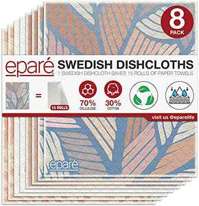 Dish Cloth - Reusable Swedish Kitchen Dishcloth - Stylish & Washable Cellulose Paper Towel & Sponges Alternative By Eparé