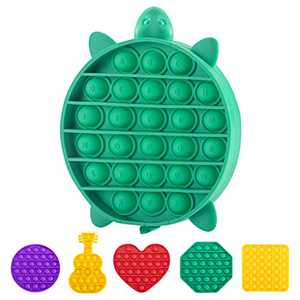 TOYZEN Push Pop Fidget Toy – Upgraded Thick Silicone Squeeze Stress Relief Toys - Bubble Push Pop Sensory Toys for Adults and Kids Pack of 1 (Tortoise)