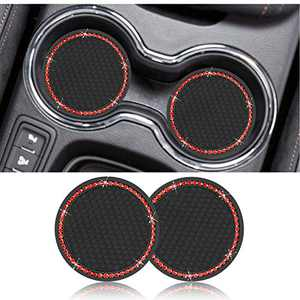 Viwu 2PCS Universal Vehicle Bling Car Cup Coaster, 2.75 Inch Crystal Silicone Rhinestone Anti Slip Insert Coaster,Suitable for Most Car Interior, Cup Holder Coaster Auto Accessories,Pack of 2(Red)