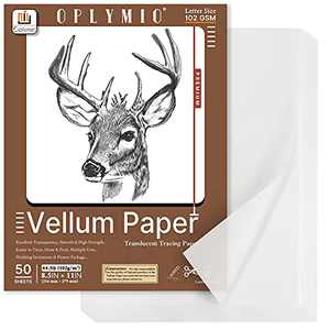 Translucent Vellum Paper, Oplymio 50 Sheets 102GSM Printable Vellum Paper, Transparent Paper for Card Inserts, Invitations, Envelope, Belly Bands, Tracing(8.5 x 11 Inches)