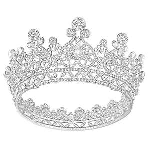 Silver Queen Crown for Women, Full Round Birthday Crown Princess Crown Wedding Crown and Tiaras for Bride