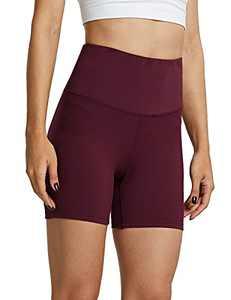 """ZUTY Women's Biker Shorts with 2 Hidden Pockets High Waist Yoga Workout Athletic Running Shorts 5"""" Burgundy XL"""