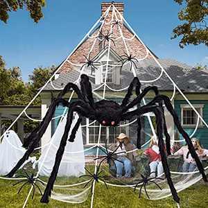 """Halloween Spider Decorations,200"""" Halloween Spider Web + 47"""" Giant Spider Decorations + 20 Fake Spider + 100g Cobwebs wTriangular Huge Spider Web for Indoor Outdoor Halloween Decor Home Party Supplies"""