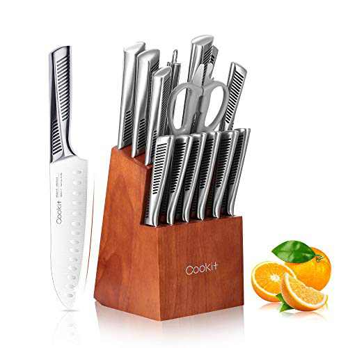 Kitchen Knife Set, Cookit 15 Piece Knife Sets with Block Chef Knife Stainless Steel Hollow Handle Cutlery with Manual Sharpener
