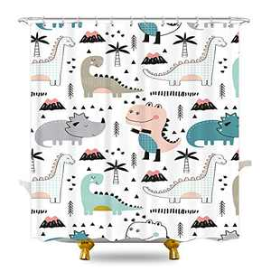 KOMLLEX Cartoon Dinosaur Shower Curtain for Bathroom 60Wx72H Inches Cute Dino Funny Animals Graffiti Kids Boys Fabric Waterproof Polyester with 12 Pack Plastic Hooks