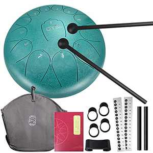 Steel Tongue Drum 12 inch 13 Notes, OYEL Percussion Instrument Steel Drum Kit Handpan Drum C key with Music Book and Carry Bag for Concert, Children's Music Enlightenment Yoga Meditation(malachite)