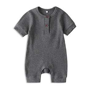 Newborn Baby Girls Floral Romper Ruffled Long Sleeve Jumpsuit One Piece Clothes (Grey, 12-18 Months)