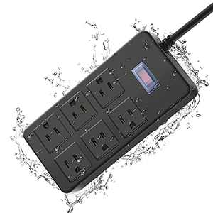 Outdoor Power Strip Weatherproof, Water Resistant Power Strip Surge Protector with 6 Wide Spaced Outlets,Exterior Power Strip Weatherproof,Power Extend Strip with Flat Plug,6ft Extension Cord