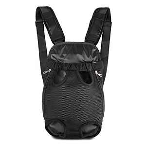 Nabegum Pet Carrier Backpack, Adjustable Dog Cat Frontpack Carrier Travel Bag, Legs Out, Easy-Fit for Traveling Hiking Camping for Small Medium Dogs Cats Puppies (Black, Large(8-12LB))