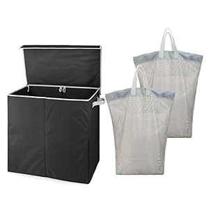 BeeGreen Black Double Laundry Hamper with Lid Collapsible Laundry Hamper with 2 Removable Mesh Laundry Bags with Handles X-Large Laundry Basket for Bedroom Laundry Room Closet Bathroom College