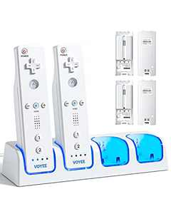 VOYEE Charging Station for Wii Remote Controller, with 4 Rechargeable 2800 mAh Battery Packs & USB Cable, 4-in-1 Controller Charger Compatible with Nintendo Wii/Wii U Controller - White