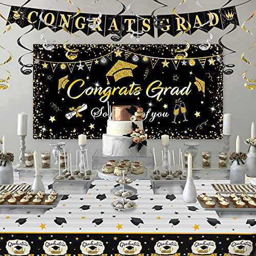 Black Background Wall Graduation Banner and Tablecloth Set, College Graduation Decorations, Graduation Party Supplies, Graduation Party Decorations Backdrop, Banner 2021