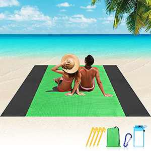 Beach Blanket, 10'×9' Beach Blanket Sandproof Waterproof for 4-7 Adults, Lightweight & Durable with 4 Stakes Beach Mat, Portable Picnic Mat for Travel, Camping, Hiking - Heat Proof, Quick Drying