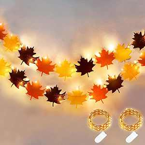 Fall Thanksgiving Decorations 2 Pack Fall Banner with Lights Felt Maple Leaf Garland Total 20 Ft 60 Led Fall String LightsThanksgiving Autumn Party Supplies Indoor Outdoor Home Decor