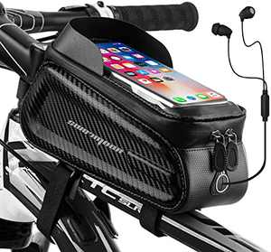 SUNRIMOON Bike Phone Bag Bicycle Front Frame Bag Waterproof Bike Pouch Top Tube Bag Bike Accessories Bag Phone Holder for Cycling, Fits for iPhone Plus xs max, 6.5''(1.5L)