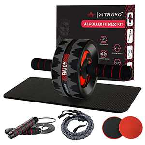 Nitrovo Ab Roller Wheel 7 in 1 Set- Abdominal & Core Workout Equipment For Home Workouts, Strength Training Equipment, Home Gym Equipment, Abs Fitness Equipment, Exercise Equipment For Home Workouts
