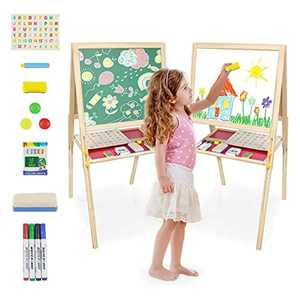 Easel Kids Double Sided Wooden Art Easel Magnetic Whiteboard Chalkboard Adjustable Height Paint Easel with Chalk Eraser Magnetic Letters and Numbers for Children Toddlers Boys Girls 3 4 5 Years Old