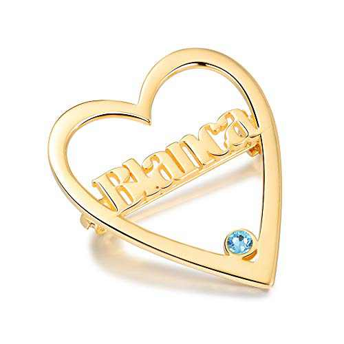 kaululu Personalized Heart Name Brooch Pins for Women, Custom Name Pins with 1 Birthstone for Women, Love Brooch Pins Gift for Her, Mother Sliver