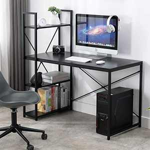 Bonzy Home Study Computer Desk 48 inch with Storage Shelves Student Writing Desk for Home Office, Modern Simple Style PC Table, Rustic Black Metal Frame(Black)