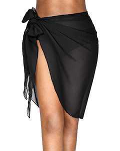 milkfeel Short Sarong Wraps Beach Swimsuit Cover Ups for Women Bathing Suit Bikini Wrap Coverups Black