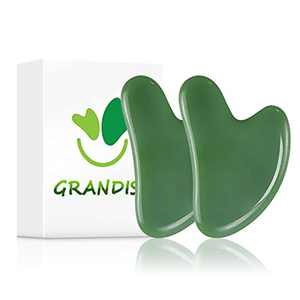 2 Pcs Gua Sha Scraping Massage Tool Jade Stone Board Facial Tool for Anti-Aging Natural Jade Scraping Skin Care Tools for Face Neck Back Feet Hands and Body (Dark Green)