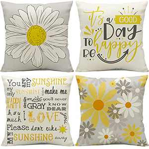 Throw Pillow Covers 16 x 16 Set of 4,Decorative Sunflower Room Decor,You are My Sunshine Throw Pillow Covers Farmhouse Throw Pillows for Room Couch Cushion Bed Yellow and Gray Home Decor