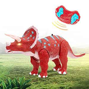 Remote Control Dinosaur Toy, RC Realistic Walking Triceratops Toy with LED Eyes for 3+ Year Old Boys Girls Kids (Red_)